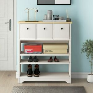 Wooden Side Cabinet 3 Tier Shoe Storage with Moveable Shelf 90x29x93 cm