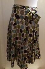 HOBBS Ladies A line Large Spot 100% Cotton Lined Skirt Size 10 With Tie Belt