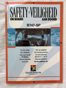 South African Airways Boeing 747SP Safety Card.