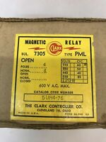 Clark 5UH4-76 Type PML Magnetic Relay Bulletin 7305 4 Contacts 600V AC