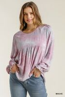 Umgee Tie Dye Ruffle Cuffed Long Sleeve Babydoll Top Size Small Medium Large