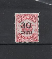 NORTH BORNEO: 1895 Surcharges on $1 Scarlet Arms 30¢ SG 90 £50, MLH.