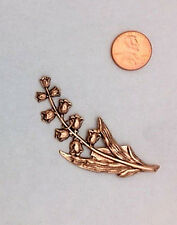 LOVELY ANTIQUE ROSE GOLD PLTD BRASS LILY OF THE VALLEY - 1 PC