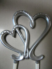 12cm Silver Wedding Cake Topper Pick Entwined Double Hearts