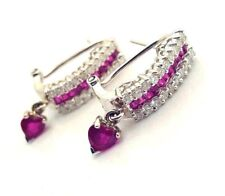 18k White Gold Natural Ruby Diamond Earrings