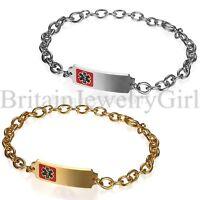 Personalized Stainless Steel Medical Alert ID 6mm Chain Men Women Bracelet Adj