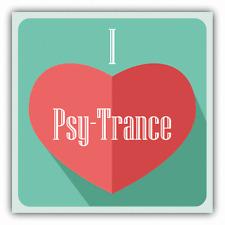 "I Love Psy-Trance Heart Music Car Bumper Sticker Decal 5"" x 5"""