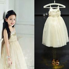 Girls Gold Sequin Shimmer Party Dress occasion wedding princess 4 yrs New