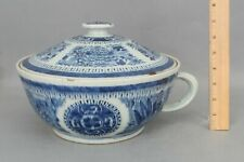Large Antique 19thC Chinese Export Blue & White Fitzhugh Chamber Pot