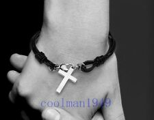 Fashion Stainless Steel Cross Pendant Leather Bracelet SK17