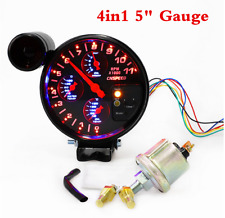 5inch 4 In1 Car Oil Pressure+Water Temp+Oil Temp+Tachometer Gauge Meter For Cars