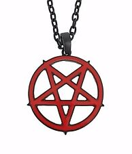 Large Red Inverted Pentagram Necklace Occult Pendant Metal Jewelry Gothic Punk