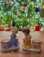 VINTAGE JASCO Christmas Luvkins ANGELS Ceramic Figurine Candle Holders '78