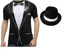 Mens Funny Tuxedo Printed T Shirt Adults Stag Do Fancy Dress Costume Top Tees
