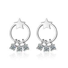 Cute Wishing Star Ear Stud Earrings New 925 Sterling Silver Austrian Crystal