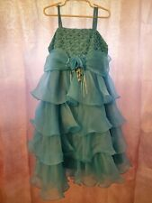 New! Richie House Girls Blue Pageant Party Dress Ruffles Sequin Beaded 7/8