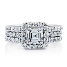 Ring Wedding Band Set Size 5-10 Sterling Silver .925 Cz Princess Cut Engagement