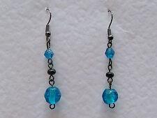 Blu & Nero Vetro Perline Orecchini nero placcato metallo dettaglio BB