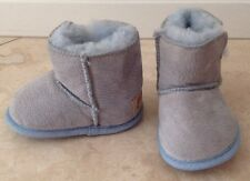 LAMO DESIGN Lt Blue Sheepskin Baby Boots Shearling Lining Girls Boys Sm NEW USA