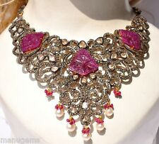 HUGE 14KT 70 CARATS CARVED RUBY DIAMOND SOUTHSEA PEARL NECKLACE COLLAR ネックレス