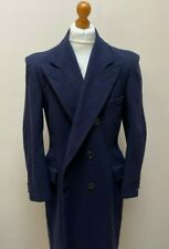 Vintage 1930's 1940's navy blue double breasted overcoat size 42