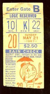 May 21 1967 Ticket Stub St. Loui Cardinals at New York Mets Roger Maris Home Run