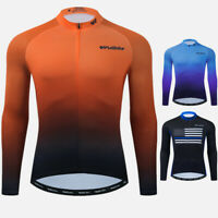 Mens Cycle Jersey Long Sleeve Top Bike Cycling Full Zip Shirt Racing Breathable
