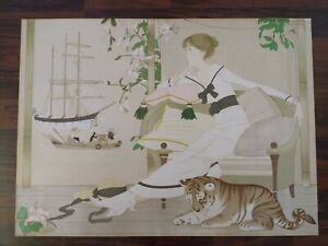 """Large Philippe Noyer """"Vanessa"""" Signed Numbered Print Lady Boats Tiger"""