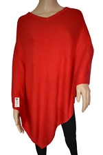 NHZ Exclusive Cashmere Poncho -Royal Red Color Vneck Cashmere- Handmade in Nepal