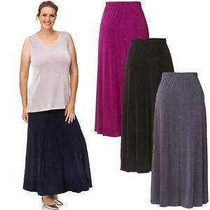 Damen Rock SLINKY Godetfalten Maxi Faltenrock Skirt - Lagenlook Dehnbund Lang