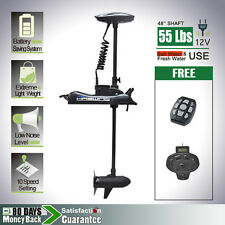 """12V 55lbs 48"""" shaft Bow Mount Electric Trolling Motor BLACK with foot control"""