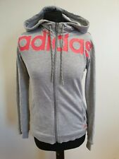 FF254 WOMENS ADIDAS GREY PINK EMBLEM LIGHTWEIGHT TRACKSUIT JACKET HOODIE UK S