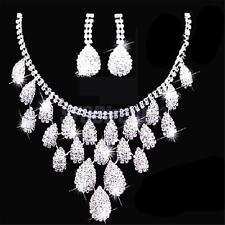 Sparkling Wedding Jewelery Sets Bridal Rhinestone Crystal Necklace Earrings