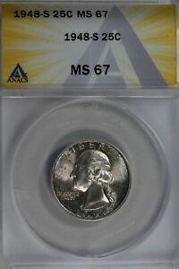 1948-S  .25   ANACS   MS 67   Washington Quarter, Silver 25 Cents (0.25)