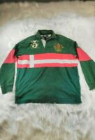 Vintage Polo Ralph Lauren Men's Large Green Red Striped Rugby Shirt USA