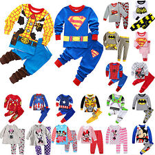 Cartoon Sleepwear Baby Kids Boys Girls Nightwear Pyjamas Set Outfit Homewear