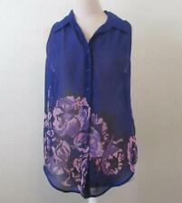 GUESS womens Med sheer blue floral sleeveless blouse Marina button front