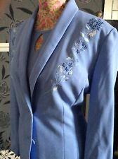 Jacques Vert IcE Blue Lavender Wiggle Dress Jacket Size 12 Pristine Hols 11.9