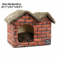 Pet Dog Cat House Beds Kennel Raised Indoor House Tent Mat Cushion Home Feng8