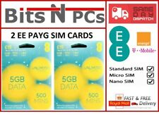 2 x EE £15 Data Pack Pay As You Go Sim Card - Standard, Micro & Nano Included