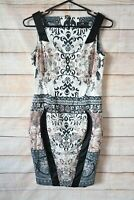 Cue Dress Size 10 Medium Black Pink White Floral Pencil Exposed Zip