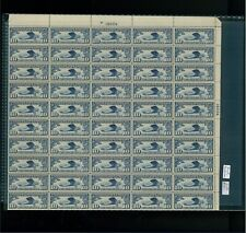 1927 United States Air Mail Postage Stamp #C10 Plate No 19004 Mint Full Sheet