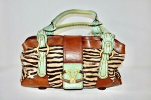 Valentino Caravani Brown/Green Leather Horsehair V Handbag Size Large On Sale sd