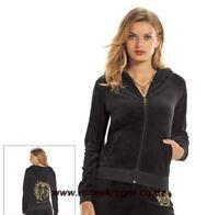 SALE NWT Authentic Women's Juicy Couture Velour Hoodie Jacket  CREST Black 00RG