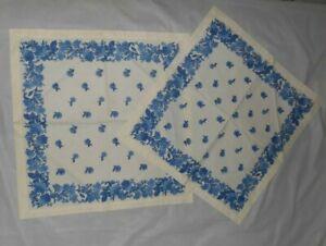 """2  WILLIAMS SONOMA 20"""" square 100% Cotton Napkins - White w/ Blue Flowers - EXC."""