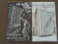 2 SET 1908 POSTCARDS NATIONAL BANK COMMERCE EXAGGERATION KANSAS CITY MISSOURI MO