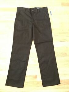 NAUTICA Boy's Black School Uniform Flat Front Pants Size 12 Husky NEW