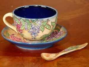 Porcelain Cup & Saucer w/Spoon, Hand Painted Hydrangeas, Old Tupton Ware