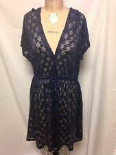 Profile Crochet Hooded Coverup Large Navy E409-3036 NWT