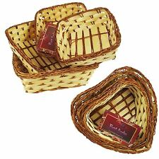 Set of Four Small Wicker Tray Baskets Soaps Candles Hamper Favours Heart